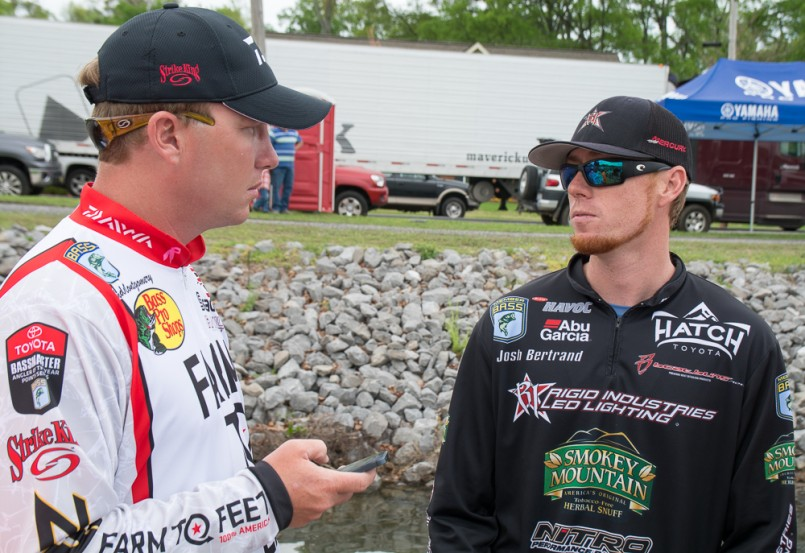 Andy Montgomery and Josh Bertrand compare notes...Photo by: Chris Mitchell