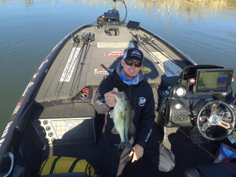Josh Bertrand on the board. Has two for five pounds flipping bushes. Photo by Bassmaster Marshal Ron Knebel.