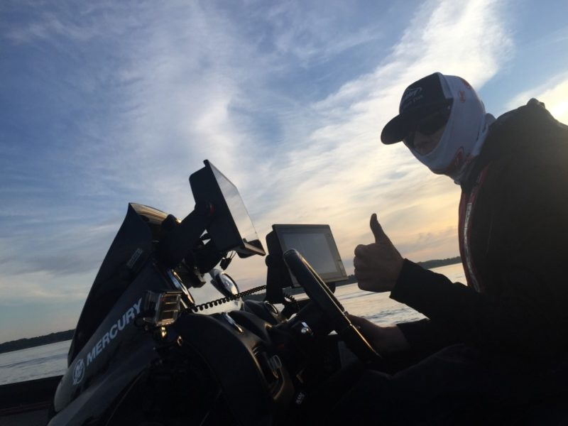 Running 70-ish mph, Josh Bertrand is anxious to get to his first spot. Photo by Bassmaster Marshal Joe McElroy