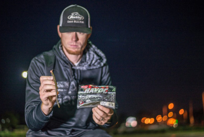 Josh Bertrand shows off a bait that has been working well for him over the past three days… will it be an asset today and help Josh make it to Championship Sunday? Photo: Garrick Dixon